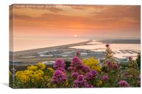 Chesil Beach sunset , Canvas Print