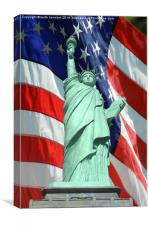 las vegas statue of liberty with stars and strips, Canvas Print