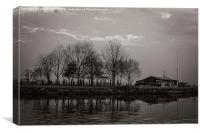 scout hut at trent lock,at dusk in black and whit, Canvas Print