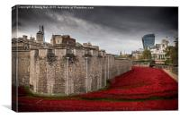 Tower of London & Red Poppies, Canvas Print