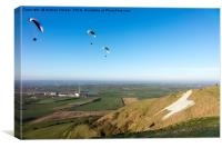 Paragliders, Westbury White Horse, Wiltshire, UK, Canvas Print