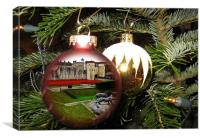 Tower Poppies in christmas bauble , Canvas Print