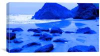 Kynance Cove, Blue Stepping Stones, Canvas Print