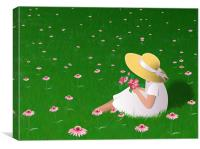 Girl In Grass, Canvas Print
