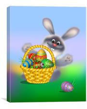 Easter Bunny with Egg Basket, Canvas Print