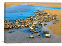 Pool on a sandy beach at low tide with cobbles and, Canvas Print