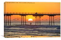 Summer sunset at Saltburn Pier  North Yorkshire, Canvas Print