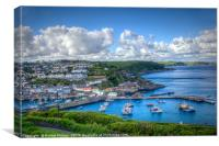 Megavissey town and harbour, Cornwall., Canvas Print