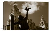 Blitz memorial in Liverpool, Canvas Print