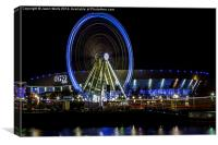 Ferris wheel in front of the Echo Arena, Canvas Print