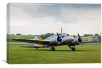 Avro Anson parked on the grass, Canvas Print