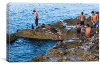 Boys cooling off in the sea, Canvas Print