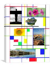 Modrian inspired composit of places and flowers, Canvas Print