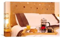 Romantic Continental  Breakfast in Bedroom, Canvas Print