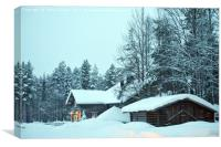 Log cabins nestled in the snow laden trees at dusk, Canvas Print