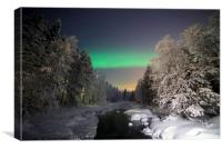 The Aurora Borealis dances over a wintered stream, Canvas Print