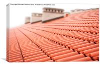 rows of red tiles roof with chimneys , Canvas Print