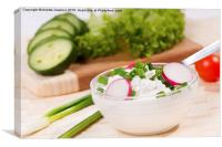 cottage cheese with radish and chives , Canvas Print