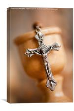 Cross on candlestick blurred rosary, Canvas Print