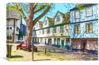 Elm Hill Waggon and Horses lane Norwich, Canvas Print