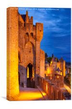 Medieval town of Carcassonne, Languedoc-Roussillon, Canvas Print