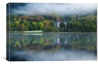 Autumnal reflections in Loch Achray, Canvas Print