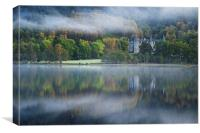 Autumn mist at Loch Achray, Canvas Print