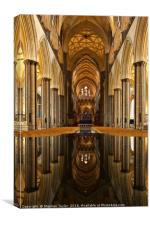 Salisbury Cathedral reflections, Canvas Print