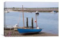 Blue boat and Lavender, Canvas Print