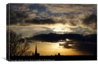 Dramatic sky over Norwich Cathedral, Canvas Print