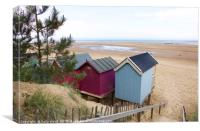 Pink and Blue Beach huts at Wells-next-the-Sea, Canvas Print