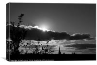 Norwich Cathedral Mono Sunset, Canvas Print