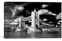 Tower Bridge in London in black and white , Canvas Print
