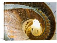 Spiral staircase at Upnor Castle , Canvas Print