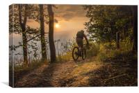Mountain biking till the sunset, Canvas Print