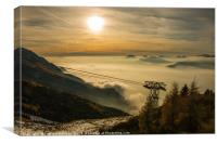 The sun sets over a sea of clouds, Canvas Print