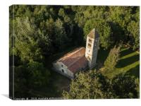 A Romanic Church in the woods, Canvas Print