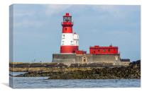 Red And White North Sea Lighthouse, Canvas Print