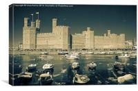 Caernarfon Castle in infra-red and duo-toned, Canvas Print