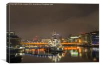 hms Belfast on the thames , Canvas Print
