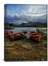 """Evening light on the boats at Derwentwater"", Canvas Print"