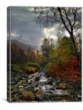 """Chink of light as the morning mists lift "", Canvas Print"