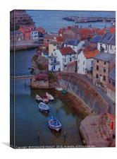 """Evening Light on Staithes Harbour"", Canvas Print"