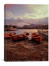 Evening light on Derwentwater boats, Canvas Print