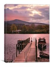 """Derwentwater jetty and boats"", Canvas Print"