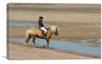 Horse and Rider at Anderby Creek, Canvas Print