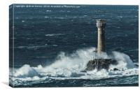 Longships Lighthouse in Rough Sea, Canvas Print