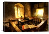A bible at the altar at Llanrhychwyn Church, Canvas Print