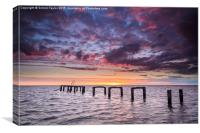 The old Snettisham Jetty at Sunset, Canvas Print