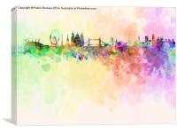 London skyline in watercolor background, Canvas Print